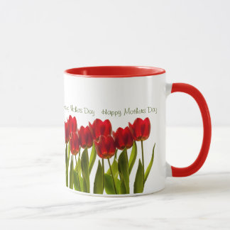 Mother's Day - Row of Bright Red Spring Tulips Mug