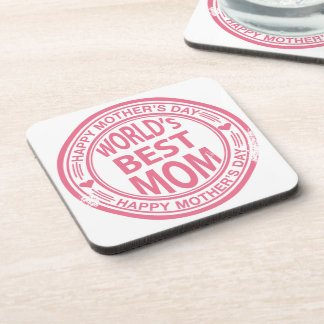 Mother's Day rubber stamp effect Coaster