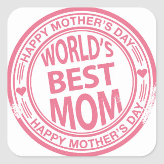 Mother's Day rubber stamp effect Square Sticker