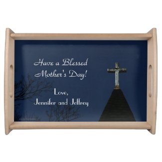 Mother's Day Serving Tray Vintage Wooden Cross