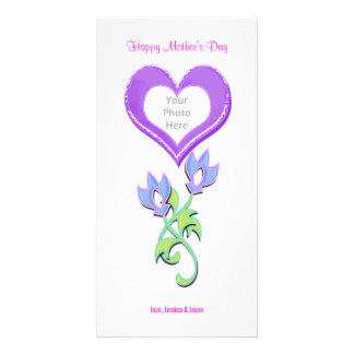 Mother's Day Shiny Heart and Flowers Photo Card