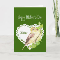 Mother's Day Sister Cute Watercolor Sparrow Card