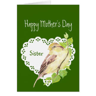 Mother's Day Sister Cute Watercolor Sparrow Greeting Cards