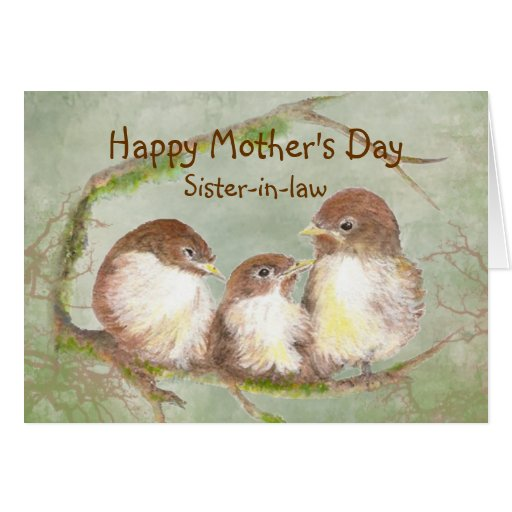 Mother's Day Sister-in-law Sparrow Bird Family Card | Zazzle