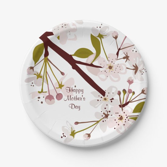 Mothers Day Spring Cherry Blossoms 7 Party Plates