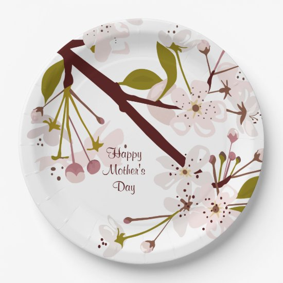 Mothers Day Spring Cherry Blossoms Party Plates