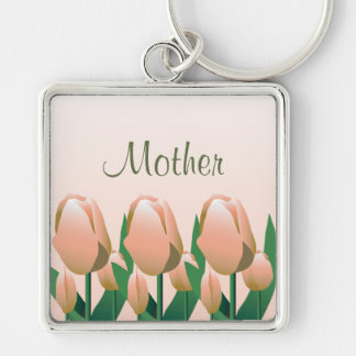 Mothers Day Spring Tulips Mom Pink Keychain