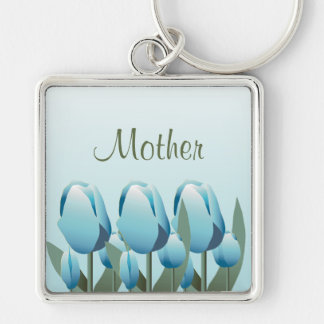 Mothers Day Spring Tulips Mom Turquoise Keychain
