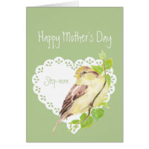 Mother's Day Step-mom Cute Sparrow Bird Card