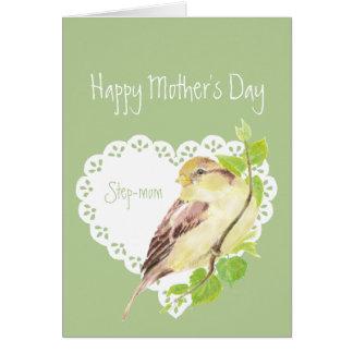Mother's Day Step-mom Cute Sparrow Bird Card