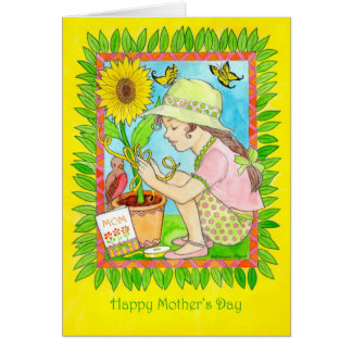 Mother's Day Sunflower, Girl with Butterflies Card