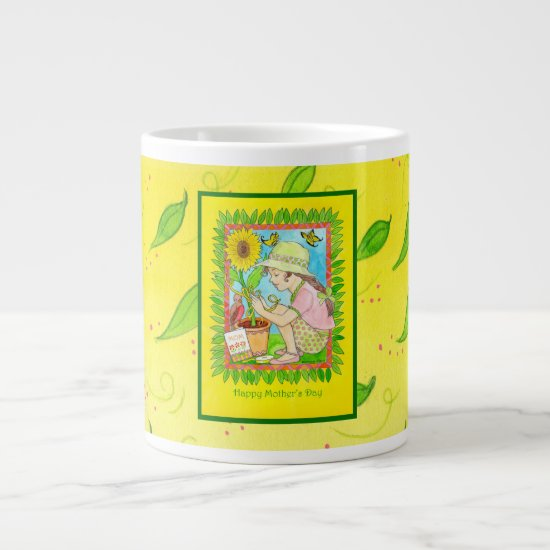 Mother's Day Sunflower, Girl with Butterflies Giant Coffee Mug