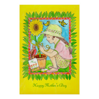 Mother's Day Sunflower, Girl with Butterflies Poster