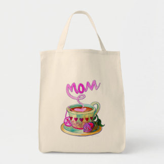 Mother's Day Teacup with Hearts for Mom Grocery Tote Bag