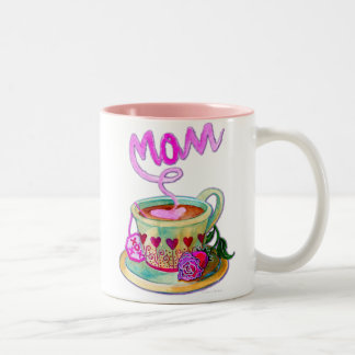Mother's Day Teacup with Hearts for Mom Two-Tone Coffee Mug