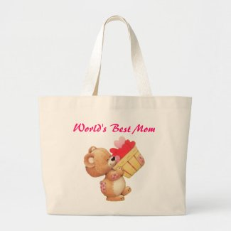Mother's Day Teddy And A Basket Of Hearts Bags