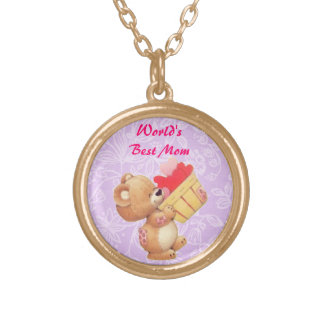 Mothers Day Teddy And A Basket Of Hearts Gold Plated Necklace