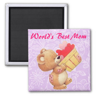 Mother's Day Teddy And A Basket Of Hearts Magnet