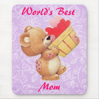 Mother's Day Teddy And A Basket Of Hearts Mouse Pad