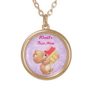 Mothers Day Teddy And A Basket Of Hearts Necklaces