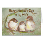 Mother's Day to Wife Cute Sparrow Bird Family Cards