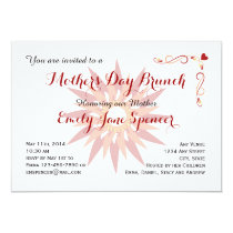 Mother's Day Trendy Floral Red Brunch Invitation