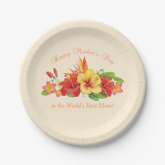 Mother's Day Tropical Flowers Paper Plates