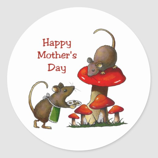 Mother's Day: Two Mice & Toadstool: Cookies: Art Stickers