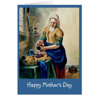 """Mother's Day: Vermeer's """"Kitchen Maid"""", Watercolor Card"""