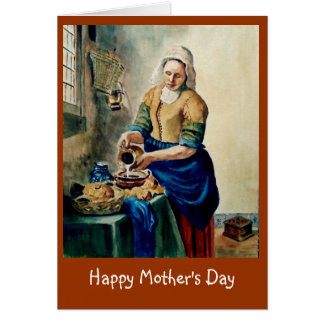 """Mother's Day: Vermeer's """"Kitchen Maid"""", Watercolor Greeting Card"""