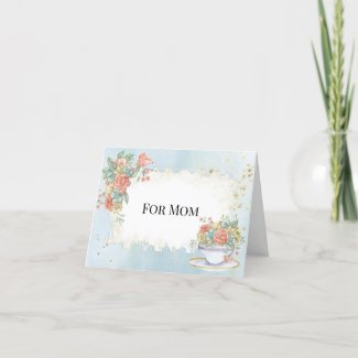 Mother's Day Vintage Frame Tea Cup Roses Daisies Holiday Card