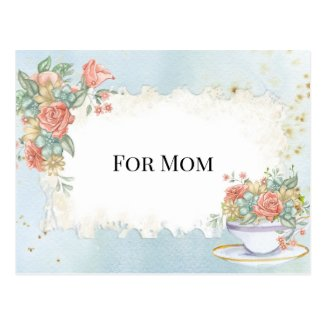 Mother's Day Vintage Frame Tea Cup Roses Daisies Postcard