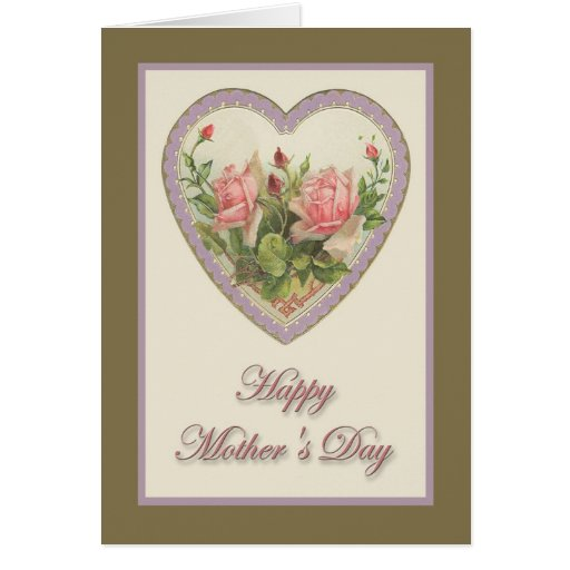 heart flowers mothers day card s day vintage amp flowers card zazzle 6702