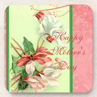Mother's Day Vintage Pink and White Cyclamen Coasters