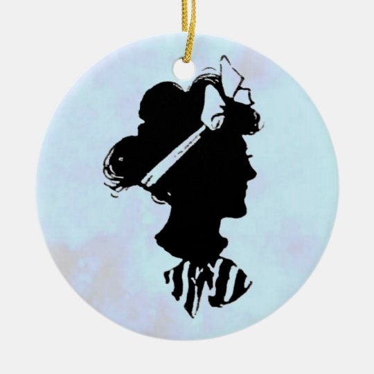 Mother's Day Vintage Silhouette on Blue Ornament