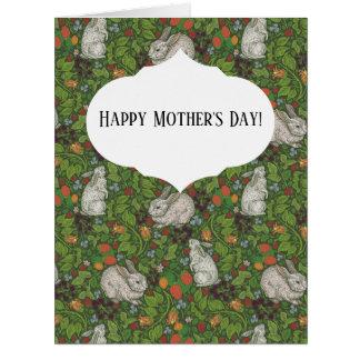 Mother's Day Vintage White Bunny Rabbit in Garden