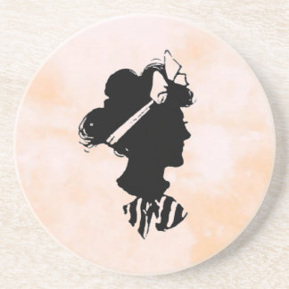 Mother's Day Vintage Woman Silhouette Beverage Coasters