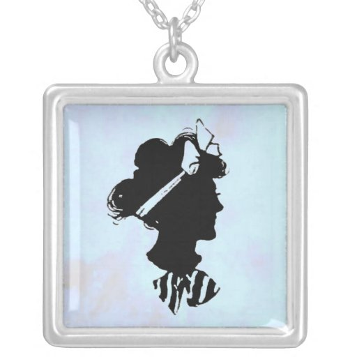 Mother's Day Vintage Woman Silhouette on Blue Jewelry