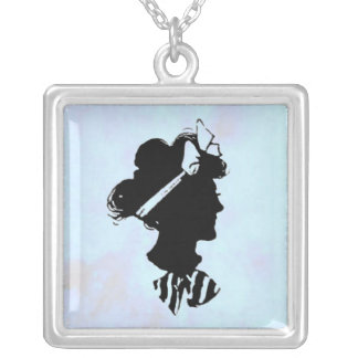 Mother's Day Vintage Woman Silhouette on Blue Silver Plated Necklace