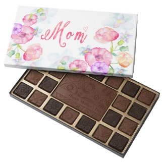 Mother's Day Watercolor Flowers Mom Word Art 45 Piece Box Of Chocolates