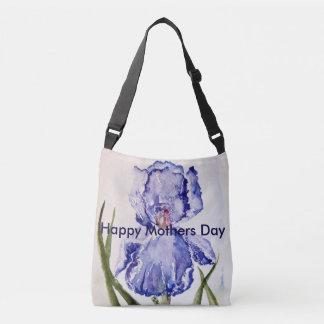 Mothers Day watercolor Iris Crossbody Bag