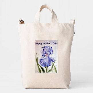 Mothers Day Watercolor Iris Duck Bag