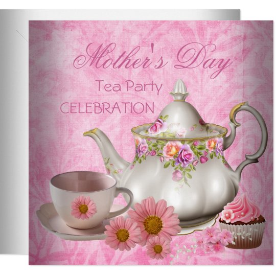 Mother S Day White Pink Floral Tea Cupcake Invitation Zazzle Com