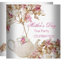 Mother's Day White Pink floral Tea Invitation