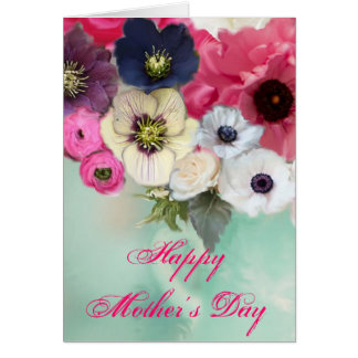 MOTHER'S DAY WHITE PINK ROSES AND ANEMONE FLOWERS CARD