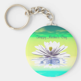 Mother's Day White Water Lily Basic Round Button Keychain