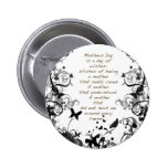 Mother's day wishes black Abusive Pinback Buttons