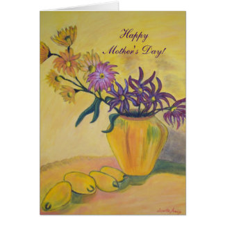 Mother's Day Yellow Vase Flowers Painting Card