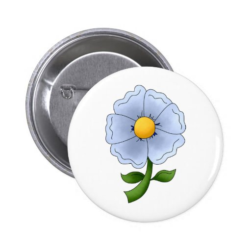 Mother's Flowers · Blue Flower Pinback Button