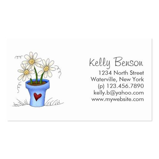 Mother's Flowers · Blue Flower Pot Business Card Template